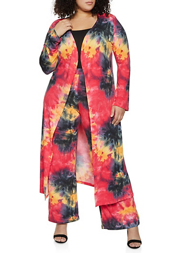 Plus Size Tie Dye Long Sleeve Duster,FUCHSIA,large