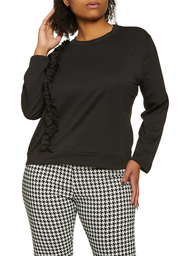Plus Size Ruffled Long Sleeve French Terry Top,BLACK,large