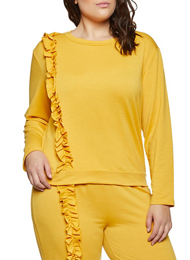 Plus Size Ruffled Long Sleeve French Terry Top,MUSTARD,large