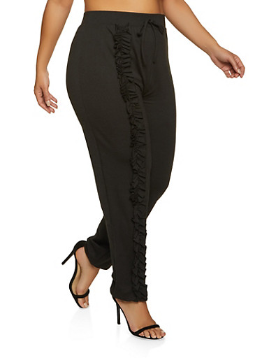 Plus Size Ruffled Detail Joggers,BLACK,large
