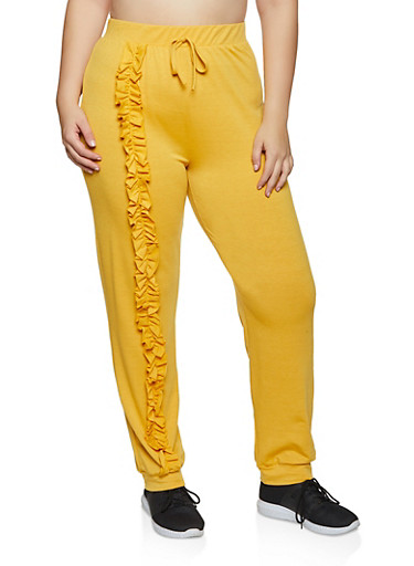 Plus Size Ruffled Detail Joggers,MUSTARD,large