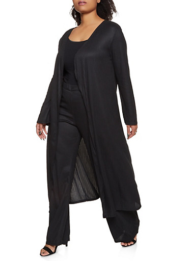 Plus Size Long Sleeve Ribbed Duster,BLACK,large