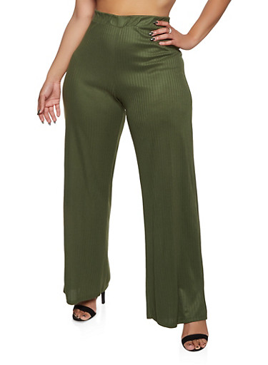 Plus Size Ribbed Knit Palazzo Pants,OLIVE,large
