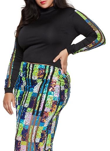 Plus Size Sequin Mesh Detail Sleeve Top,BLACK,large
