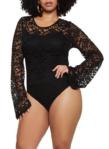 Plus Size Keyhole Back Lace Bodysuit,BLACK,large