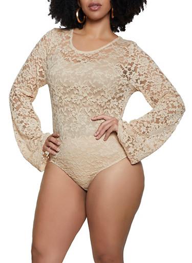Plus Size Keyhole Back Lace Bodysuit,NUDE,large