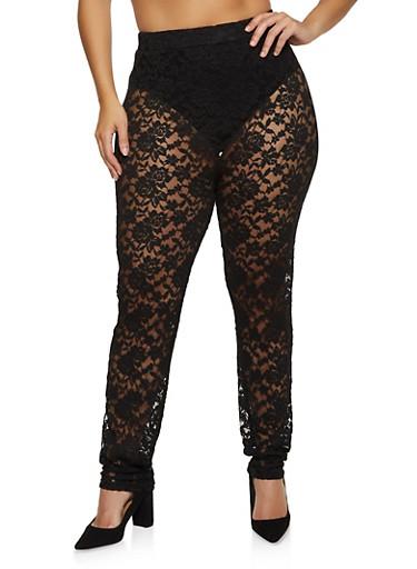 Plus Size Lace Leggings,BLACK,large
