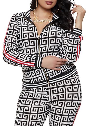 Plus Size Geometric Print Track Jacket,BLACK/WHITE,large