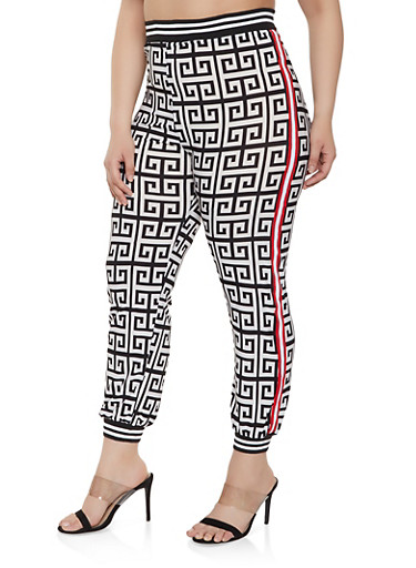 Plus Size Tape Trim Geometric Print Joggers,BLACK/WHITE,large