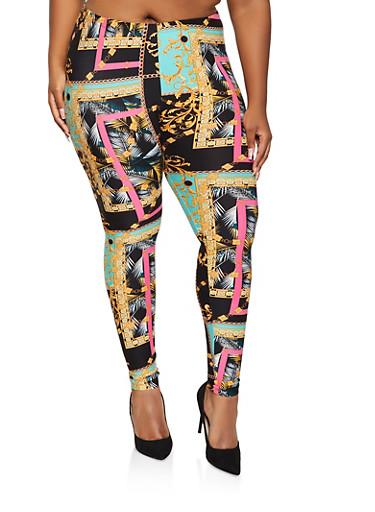 Plus Size Soft Knit Printed Leggings,BLACK,large