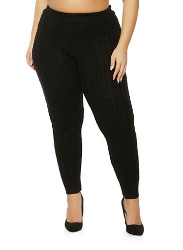 Plus Size Cable Knit Leggings,BLACK,large