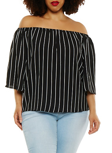 Plus Size Striped Off the Shoulder Top,BLACK,large