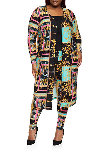 Plus Size Printed Duster,BLACK,large
