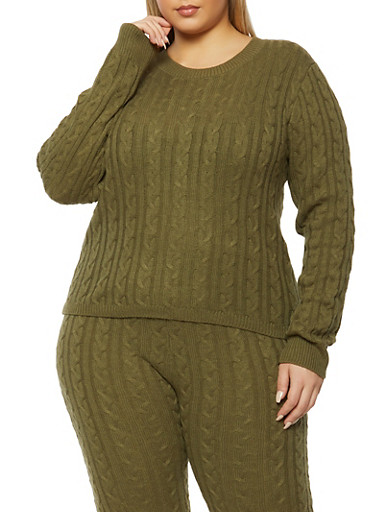 Plus Size Cable Knit Long Sleeve Sweater,OLIVE,large
