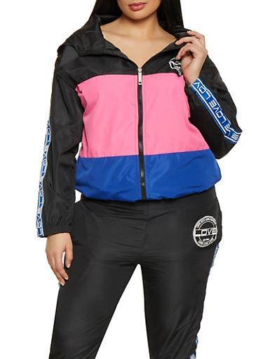 Plus Size Love Color Block Zip Windbreaker,BLACK,large