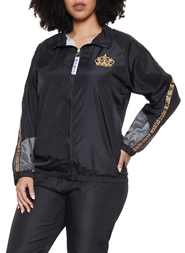 Plus Size Boss Queen Track Jacket,BLACK,large