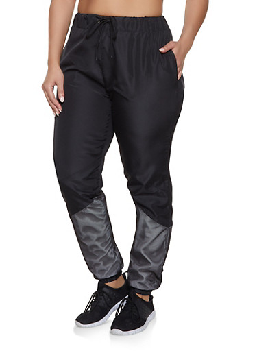 Plus Size Color Block Mesh Detail Track Pants,BLACK,large