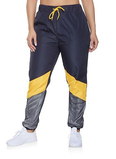 Plus Size Color Block Mesh Detail Track Pants,MUSTARD,large