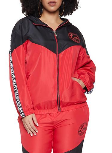 Plus Size Love Trim Windbreaker Jacket,BLACK,large