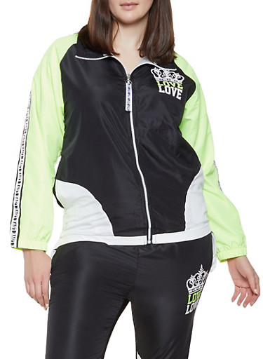 Plus Size Love Color Block Windbreaker Jacket,BLACK,large
