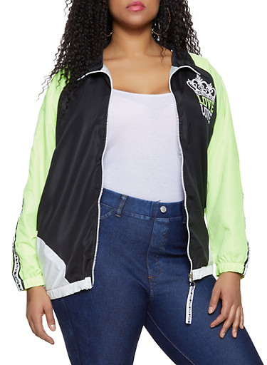 Plus Size Love Graphic Color Block Windbreaker,BLACK,large