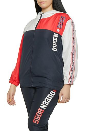 Plus Size Queen Boss Windbreaker Jacket,WHITE,large