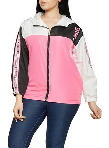 Plus Size Queen Boss Color Block Windbreaker Jacket,BLACK,large