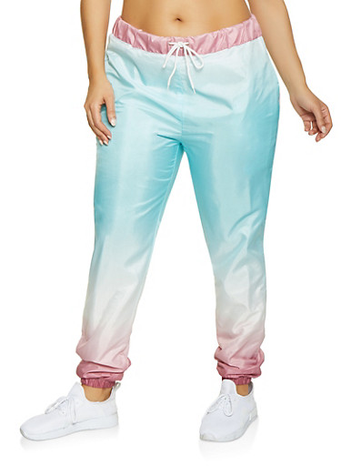 Plus Size Ombre Windbreaker Joggers | Turquoise,TURQUOISE,large