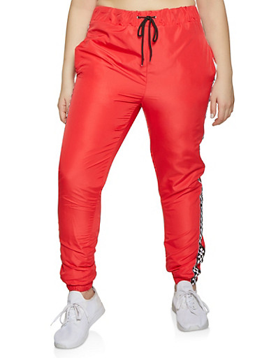 Plus Size Checkered Trim Windbreaker Joggers,RED,large