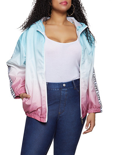 Plus Size Ombre Love Tape Windbreaker Jacket | 1850063402660,TURQUOISE,large