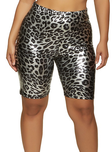 Plus Size Metallic Cheetah Print Bike Shorts,SILVER,large