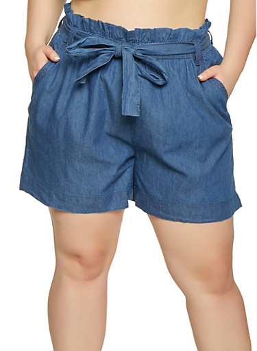 Plus Size Paper Bag Waist Chambray Shorts,NAVY,large