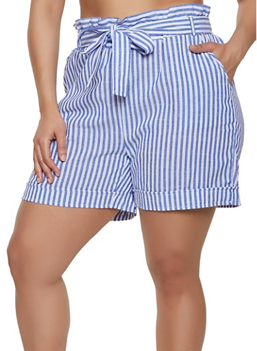 Plus Size Striped Linen Paper Bag Waist Shorts,RYL BLUE,large