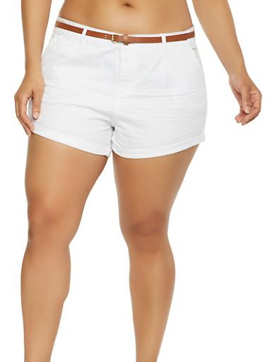 Plus Size Belted Twill Shorts,WHITE,large