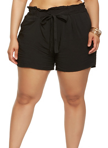 Plus Size Paper Bag Waist Shorts | Tuggl