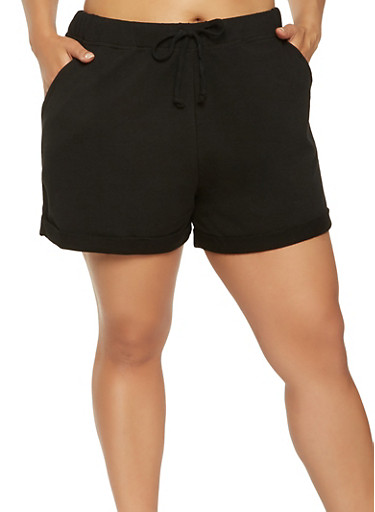 Plus Size Cuffed Shorts,BLACK,large