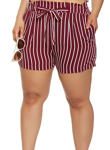 Plus Size Striped Paper Bag Waist Shorts | Tuggl