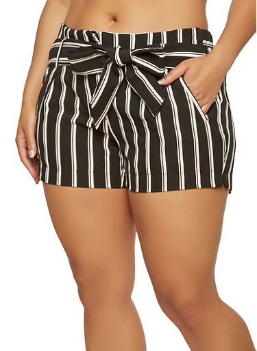 Plus Size Striped Tie Waist Shorts | Tuggl