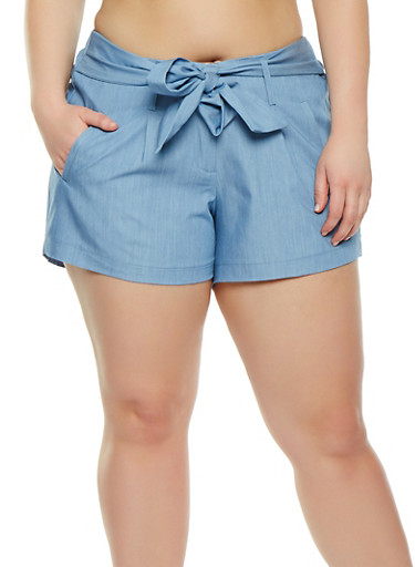 Plus Size Tie Front Shorts,LIGHT WASH,large