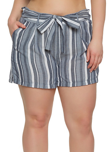 Plus Size Striped Tie Front Shorts,BLUE,large