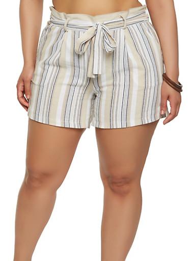 Plus Size Striped Linen Shorts,TAN,large