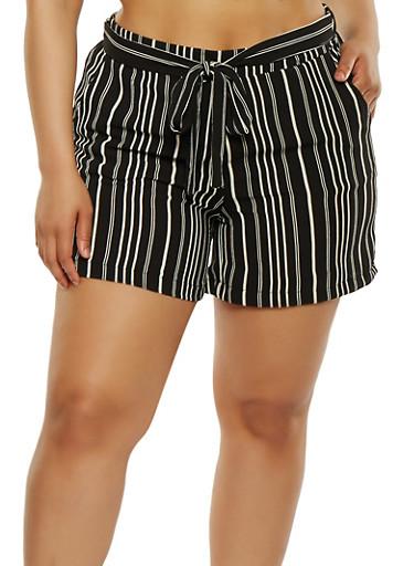 Plus Size Printed Tie Waist Shorts,BLACK/WHITE,large