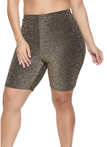 Plus Size Lurex Bike Shorts,SILVER,large