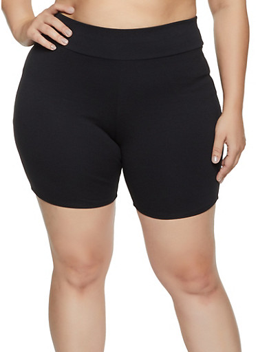 Plus Size Ponte Bike Shorts,BLACK,large
