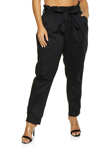 Plus Size Belted Paper Bag Waist Pants,BLACK,large