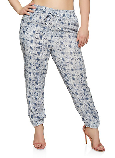 Plus Size Printed Joggers,WHITE,large