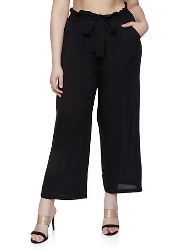 Plus Size Belted Paper Bag Waist Pants | 1861038340237,BLACK,large