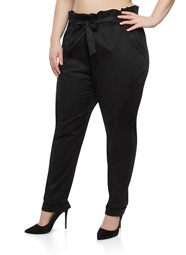 Plus Size Paper Bag Waist Pants | Tuggl