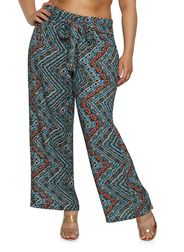 Plus Size Printed Tie Front Pants,TEAL,large