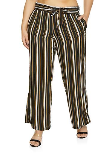 Plus Size Vertical Stripe Paper Bag Waist Pants,BLACK,large